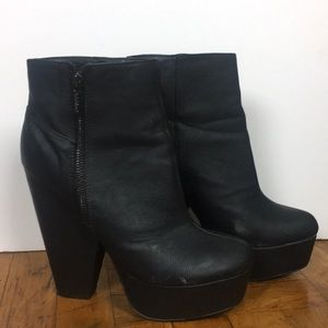 Chunky heel black faux-leather ankle boots